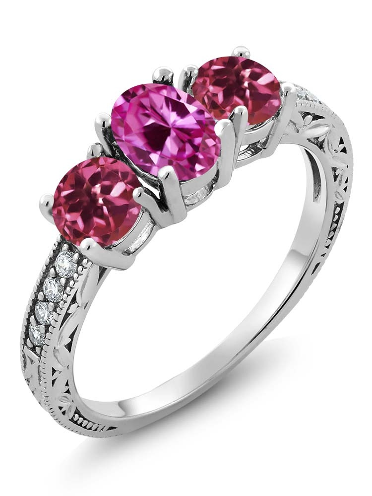 Gem Stone King 2.02 Ct Oval Pink Created Sapphire Pink Tourmaline 925 Sterling Silver Ring by