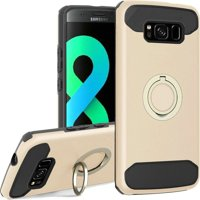 HR Wireless Dual Layer [Shock Absorbing] Hybrid Ring stand Hard Snap-in Case Cover For Samsung Galaxy S8 Plus S8+, Gold/Black