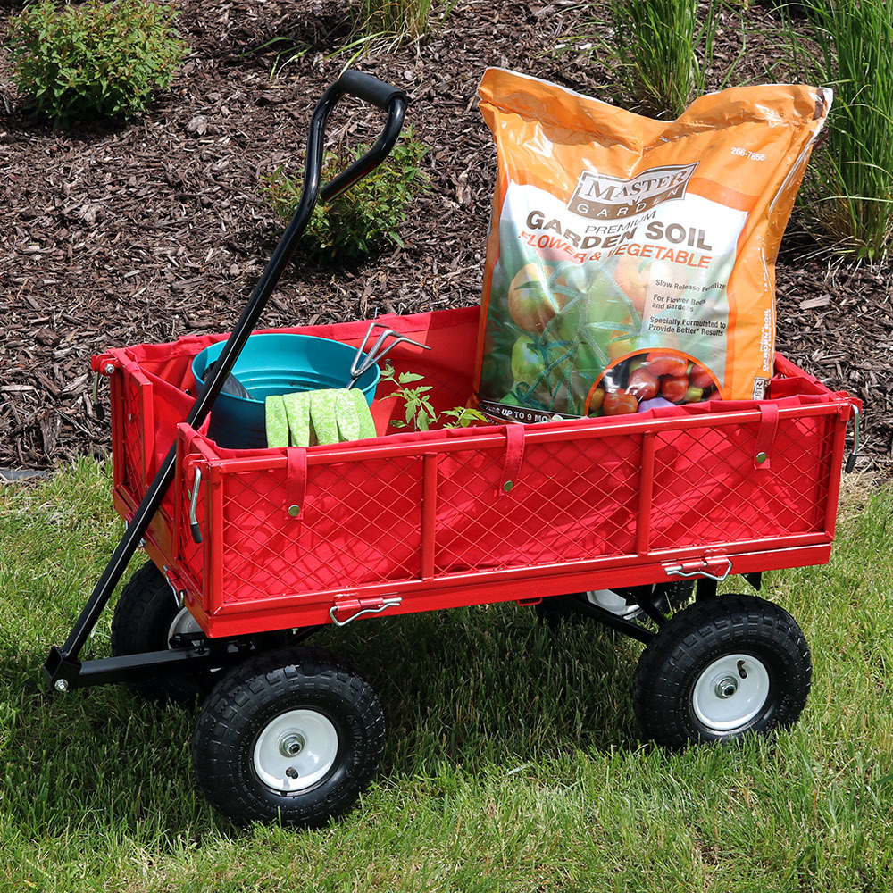 Sunnydaze Utility Garden Cart with Foldable Sides, Heavy-Duty 400 Pound Weight Capacity, Blue
