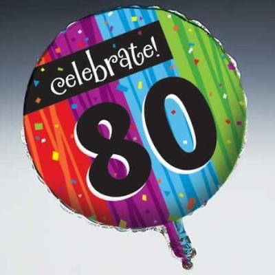 80th Birthday Balloons (Milestone Celebration 80th Birthday Foil Balloon,)