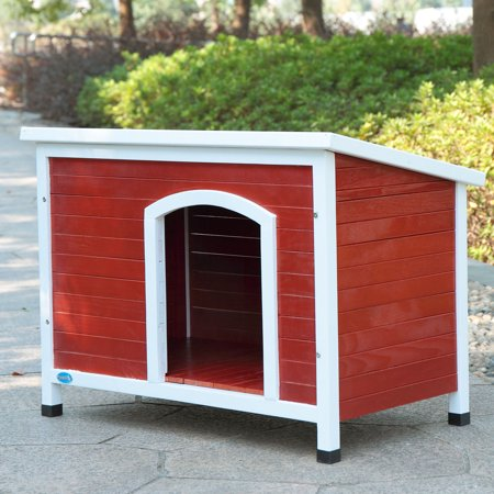 "Jaxpety Outdoor Weather-Resistant Wooden Dog House, Large, 41""x27""x28"", Red"