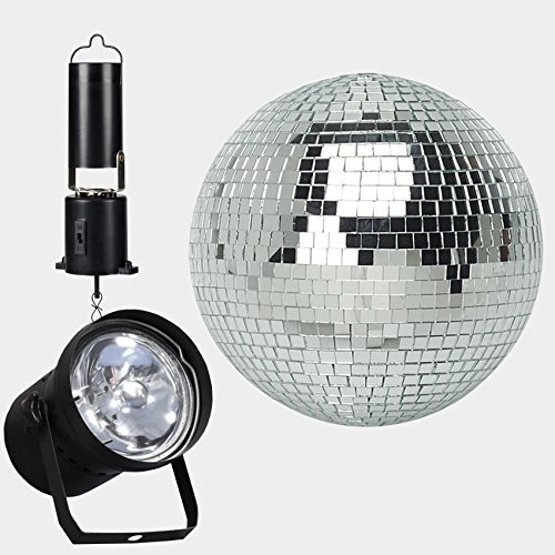 "8"" Mirror Ball Complete Party Kit with Pinspot and a Battery Powered Motor Disco Ball by Adkins Pro Audio & Lighting"