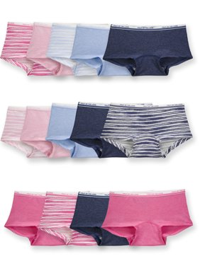 Fruit Of The Loom Girls Underwear, 14 Pack Assorted Heather Boy Short Panties Sizes 4 - 14