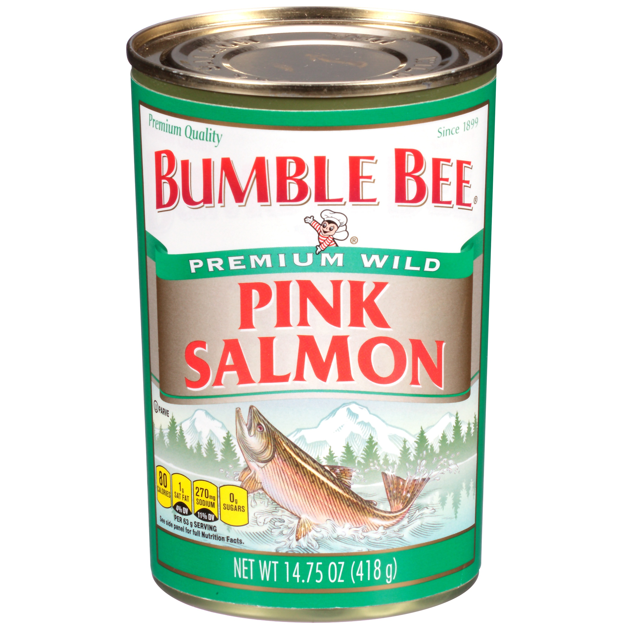Bumble Bee Wild Pink Salmon, Ready to Eat Salmon, High Protein Food, 14.75oz Can