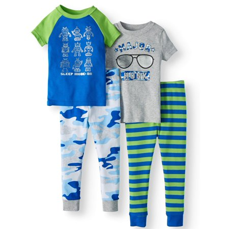 Wonder Nation Cotton tight fit pajamas, 4pc set (toddler boys)](Glow In The Dark Skeleton Pajamas Boys)