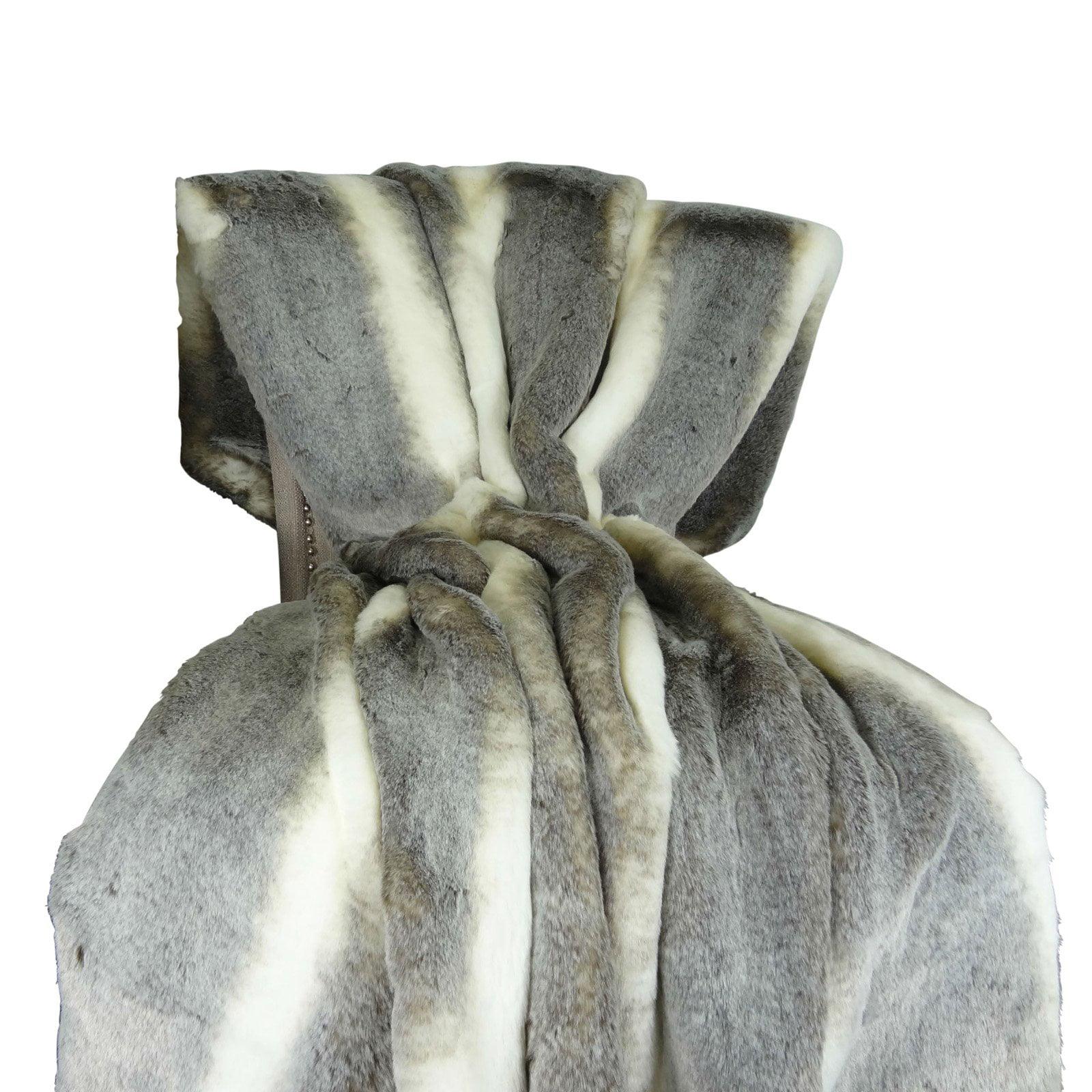 Plutus Brands Tissavel Chinchilla Faux Fur Handmade Throw