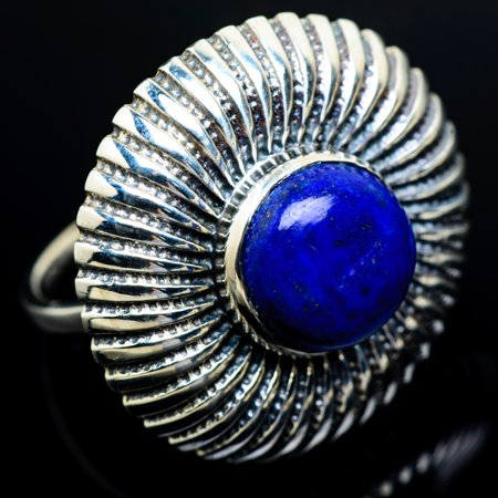 Large Lapis Lazuli Ring Size 7.5 (925 Sterling Silver)  - Handmade Boho Vintage Jewelry RING9727