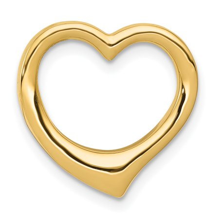 Gold Love Slide (14k Yellow Gold Heart Necklace Chain Slide Pendant Charm Love Gifts For Women For Her)