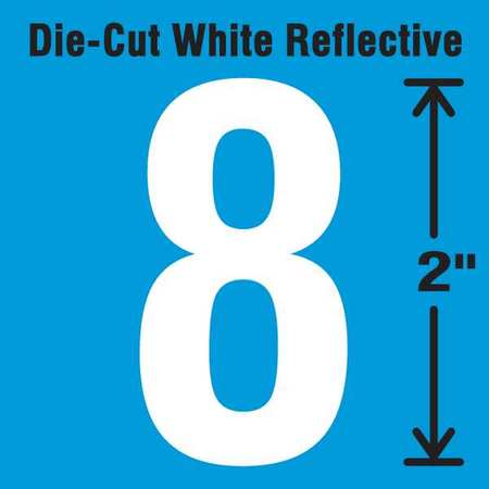 Reflective White Die-Cut Reflective Number Label, Stranco Inc, DWR-2-8-5