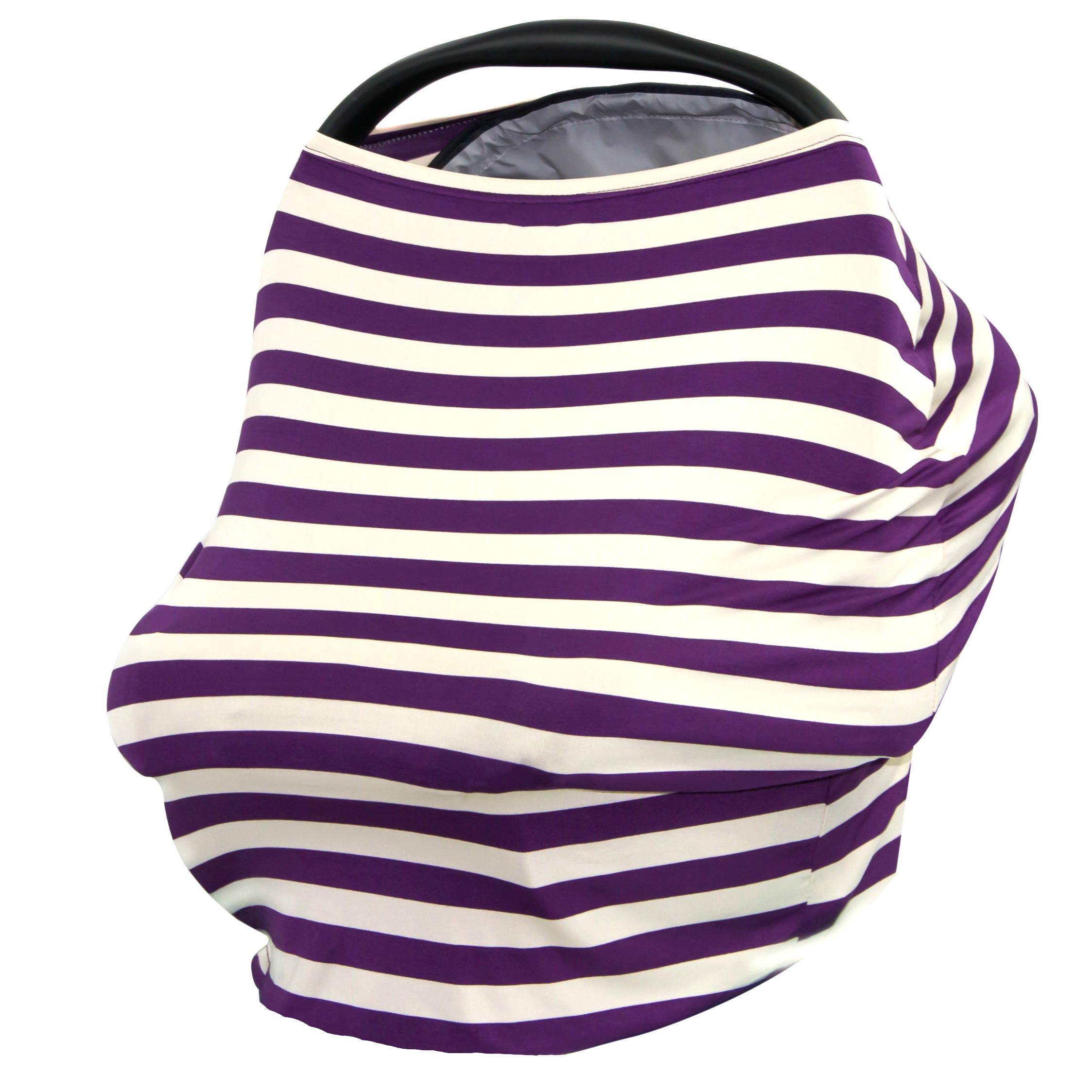 JLIKA Baby Car Seat Canopy Cover and Stretchy Nursing Cover - Grape Crème Stripe