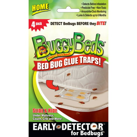 BuggyBeds Bed Bug Glue Traps Home, 4 Count (Under Mattress Sensor)