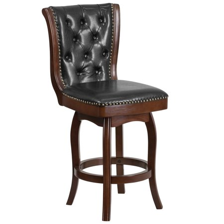 43.5'' Cappuccino Wood Counter Height Stool with Button Tufted Back and Black Leather Swivel Seat Button Tufted Seat