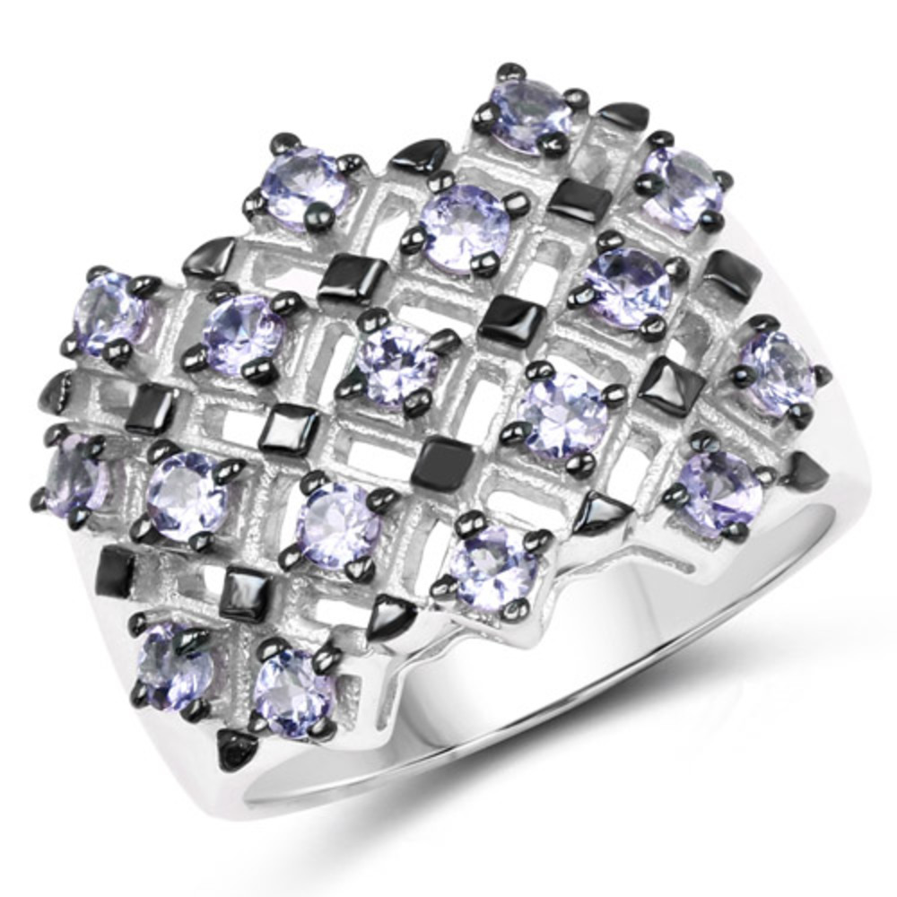 Genuine Round Tanzanite Ring in Sterling Silver Size 8.00 by Bonyak Jewelry
