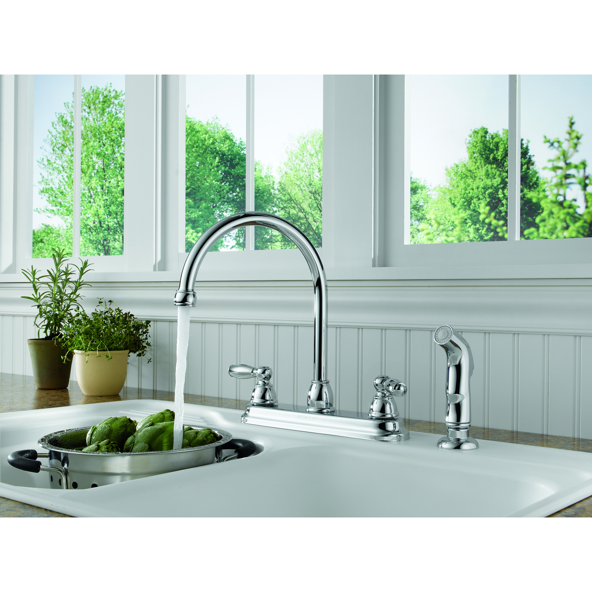 Peerless Two-Handle Kitchen Faucet with Side-Sprayer, Chrome, #P299575LF-W