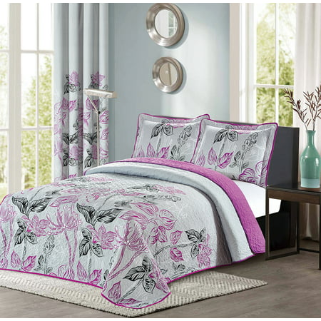 All American Collection Purple and Grey Modern Plaid Bedspread and Pillow Sham Set | Matching Curtains Available for Separately! ()