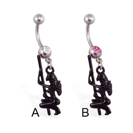 Belly Ring With Dangling Stripper And Pole