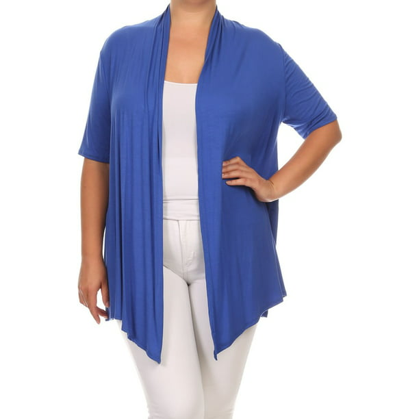 Women's Plus Size Open Front Solid Cardigan