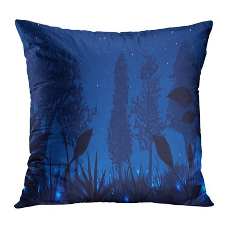 ECCOT Blue Beautiful Forest Glowing Fireflies at Night Bright Bug Effect Environment Fairy Pillowcase Pillow Cover Cushion Case 18x18 inch (Firefly Effect)