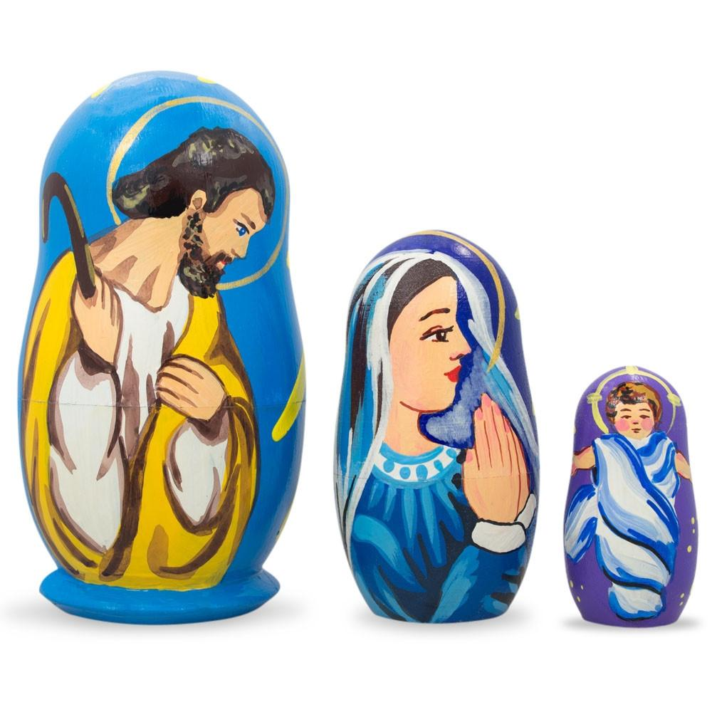 "4.25"" Set of 3 Nativity Scene Ukrainian Wooden Nesting Dolls"
