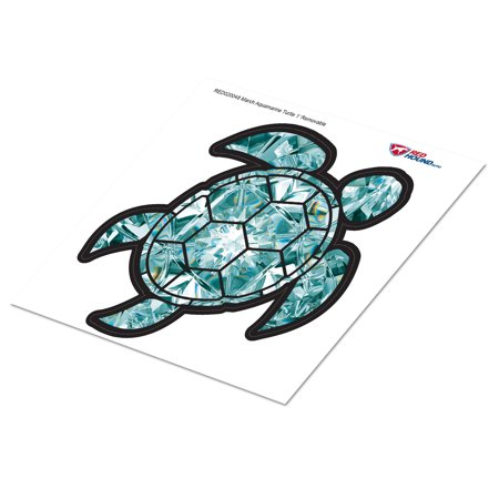 Sea Turtle Decals (Red Hound Auto Aquamarine Light Blue Sea Turtle Birthstone Removable Wall Decal March Print Peel and Stick Large 1 Foot Tall Gem)