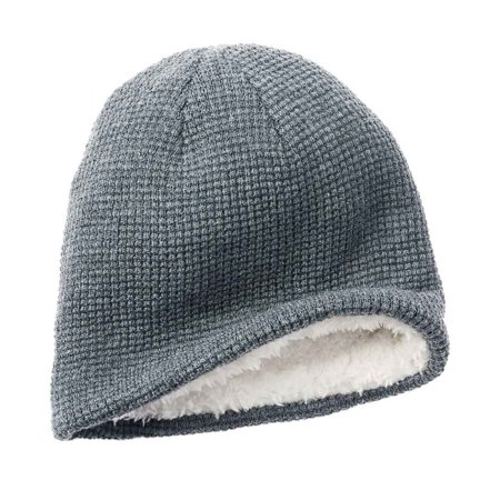 Apt. 9 Men Solid Waffle Knit Beanie Hat White Faux Fur One Size