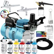 Master 3 Airbrush Cool Runner II Dual Fan Air Compressor Pro Kit, Testors Aztek 6 Primary Colors Acrylic Paint Set, Art