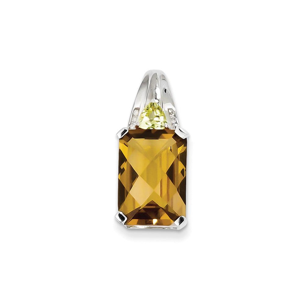 Sterling Silver Whiskey Quartz & Diamond Pendant