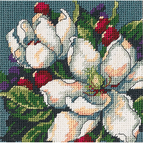 "Dimensions Magnolia Mini Needlepoint Kit, 5"" x 5"""