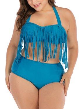 LELINTA Women's Two Piece Braided Fringe Top High Waist Bottoms Bikini Set Swimwear Plus Size Swimsuit Black/Blue/Red