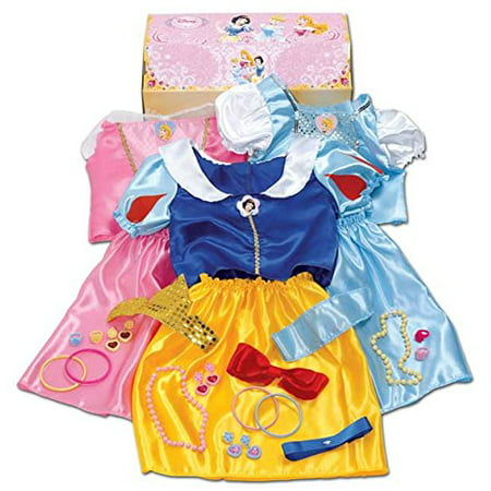 Disney Princess - 27 Piece Dress Up Trunk with Accessories - Ariel, Rapunzel, & Belle. - Dress Up Princess Ariel