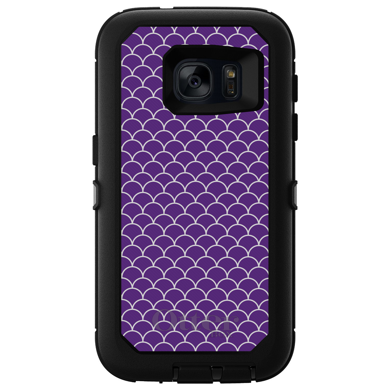 CUSTOM Black OtterBox Defender Series Case for Samsung Galaxy S7 Purple White Scalloped... by