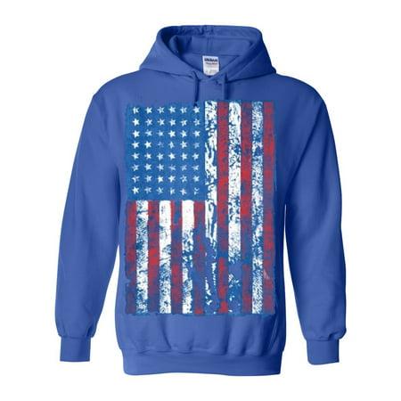 e3701d9aacf Custom Apparel R Us - Distressed American Flag USA Patriotic Clothing Unisex  Pullover Hoodie Sweatshirt - Walmart.com