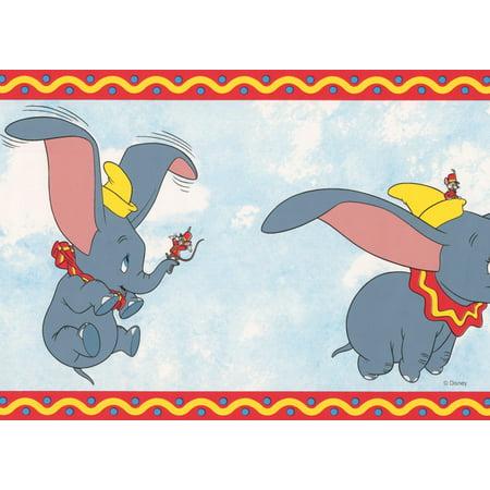 Dumbo The Elephant Disney Cartoon Wallpaper Border White Blue Red Kids Baby Room Roll 15 X 7 Walmart Canada