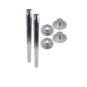 """2 Pack   Heng's 25.5"""" RECESSED RV Chrome Straight Metal Table Leg Kit (2 Legs, 2 Surface Bases & 2 Recessed Bases)"""