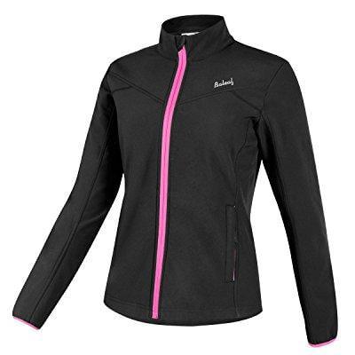 baleaf women's windproof fleece thermal softshell cycling winter jacket black size l by
