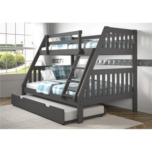 Donco Kids PD-1018-3DG-TF-503 Twin Over Full Mission Bunk Bed with Twin Trundle, Dark Grey