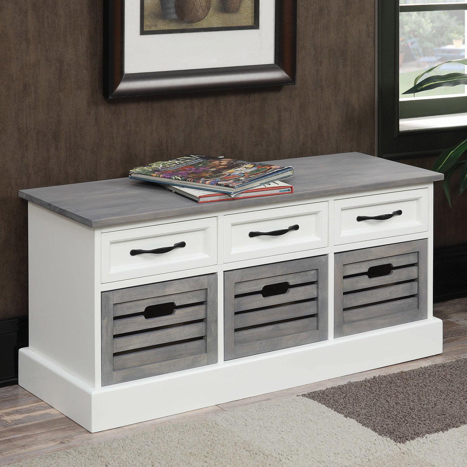 Coaster Company Storage Bench, Weathered Grey and White