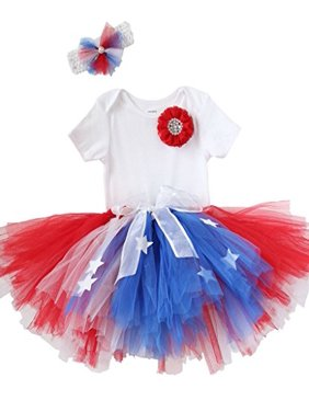92928a9991c7 Product Image Noah's Boytique Baby Toddler Girls Fourth of July Tutu Outfit  Red White and Blue with Stars