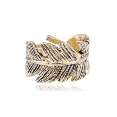 Golden Tone Small Autumn Vintage Inspired Wrap Around Veined Leaf Fashion Ring