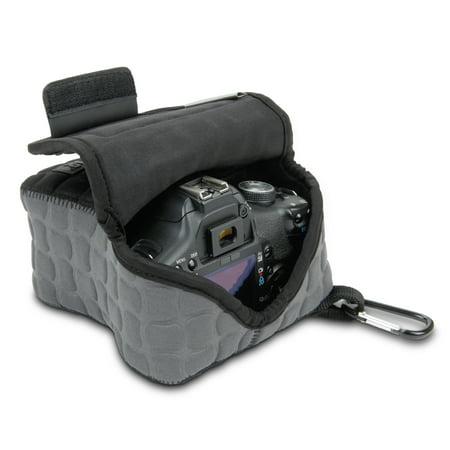 DSLR Camera Case / SLR Camera Sleeve FlexARMOR X w/Deluxe Padded Neoprene Protection, Caribiner Clip & Accessory Storage by USA Gear - Works With Nikon D3400 / Canon EOS Rebel SL2 / Pentax K-70 &