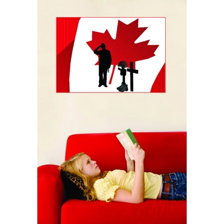 Do It Yourself Wall Decal Sticker Salute Canadian Canada Military Burial Cross Boots Gun 20x30