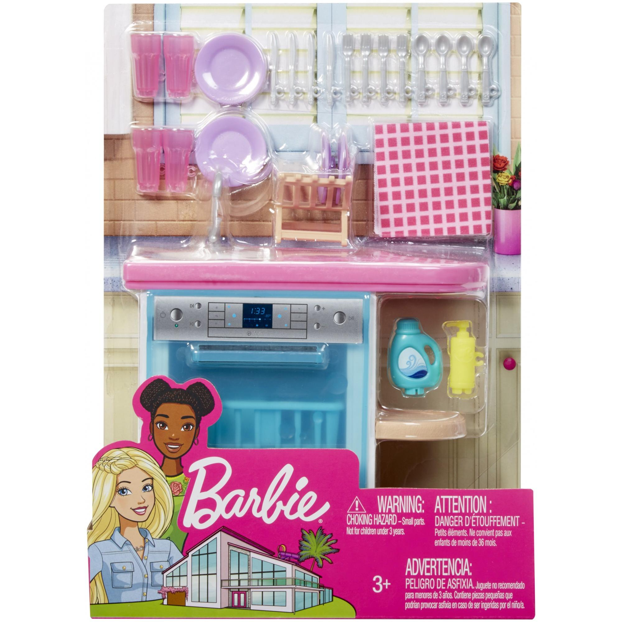Barbie Estate Indoor Furniture Set With Kitchen Dishwasher Accessories Walmart Com Walmart Com