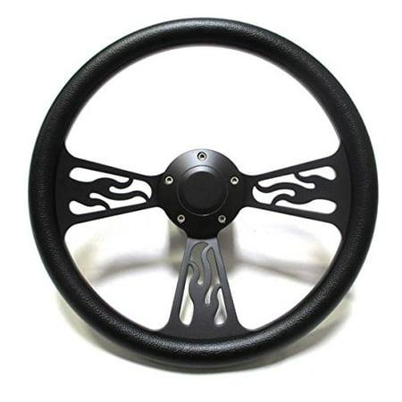 1978 -1998 Dodge Chrysler Plymouth Steering Wheel Black Billet Flames Full Kit! ()