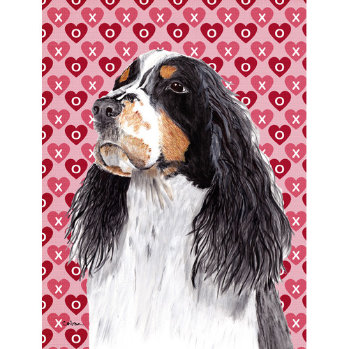 Caroline's Treasures Springer Spaniel Hearts Love and Valentine's Day House Vertical Flag