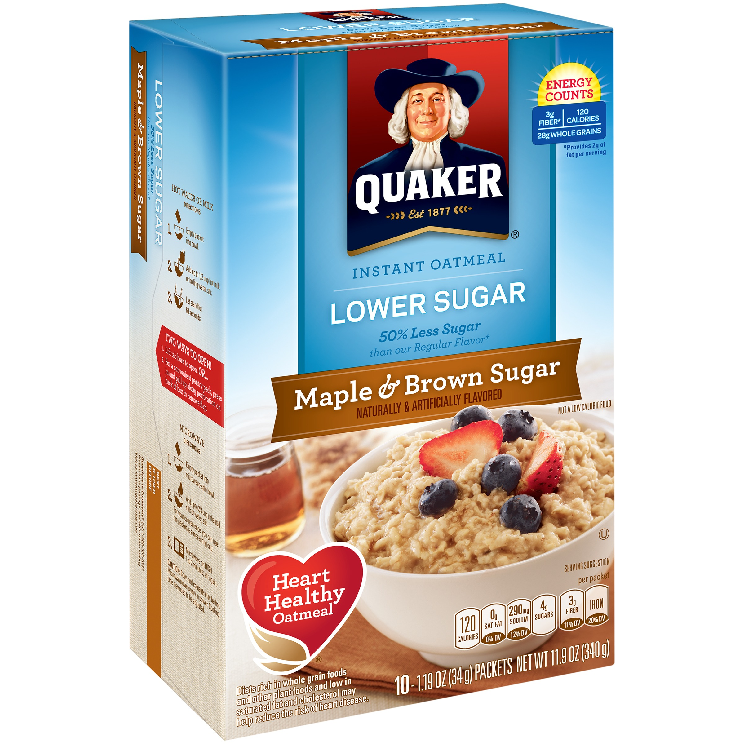 Quaker Lower Sugar Instant Oatmeal, Maple & Brown Sugar, 10 Count, 1.19 oz. Packets