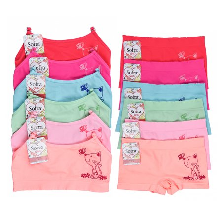 Uni Style Apparel Girls 12 Pack Seamless Spaghetti Strap Bras and Boyshorts Panties Set - 6 Pieces Each - Girls Apparel