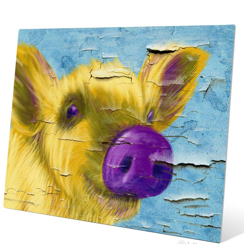 Click Wall Art Purple Nose Pig Painting Print