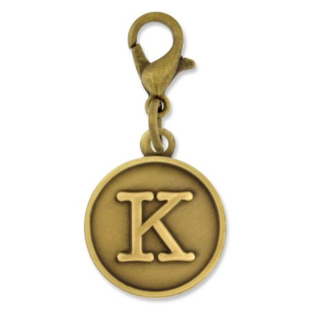 PinMart's Antique Gold and Silver Letter K Alphabet Initial Charm (Alphabet Gold Letters Italian Charm)
