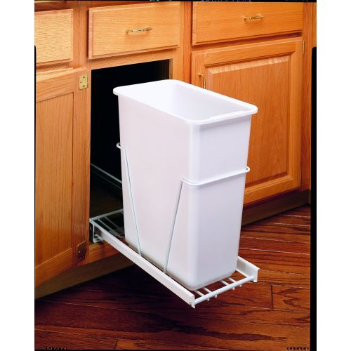 "Rev-A-Shelf RV-9PB RV Series Bottom Mount Single Bin Trash Can with 3/4 Extension Slides for 12"" Base Cabinets - 30 Quart Capacity"