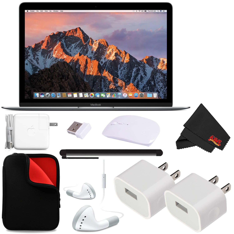 "Apple 12"" MacBook (Mid 2017 Space Gray) 512GB SSD (MNYG2LL/A) + MicroFiber Cloth + 2.4 GHz Slim Optical Wireless Bluetooth Bundle"